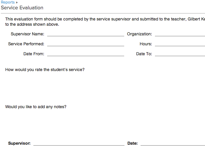 The Reports Module Contains A Service Evaluation Form That You Can Download  And Print For This Purpose. When The Supervisor Fills Out And Returns The  Form, ...